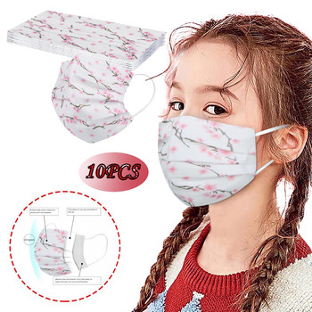 10PCS Children Protection Mask 3-Ply Disposable Plum Flower Print Face Mask Mouth Cover Fashion Anti Dust Masks Mascarilla масka image