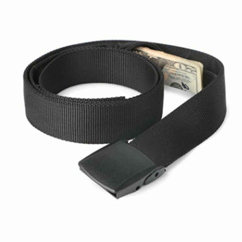 Baru Pria Sabuk Pinggang Solid Ritsleting Tak Terlihat untuk Anda untuk Menyimpan Uang dan Dokumen Kasual Sabuk