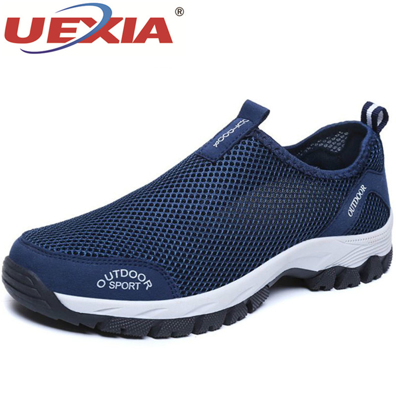 UEXIA Summer Comfortable Outdoor Casual Shoes Slip-on Breathable Mesh Flats Trainers Sneakers Loafers Zapatillas Hombre 39-49