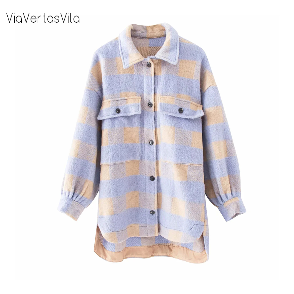 New Winter Purple Plaid Womens Coats And Jackets Long Sleeve Oversized Female Long Wool Jacket Coat Zoravicky Plaid Overshirt