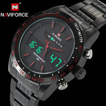 NAVIFORCE Men Sports Watches Quartz LED Digital Clock Stainless Steel Strap