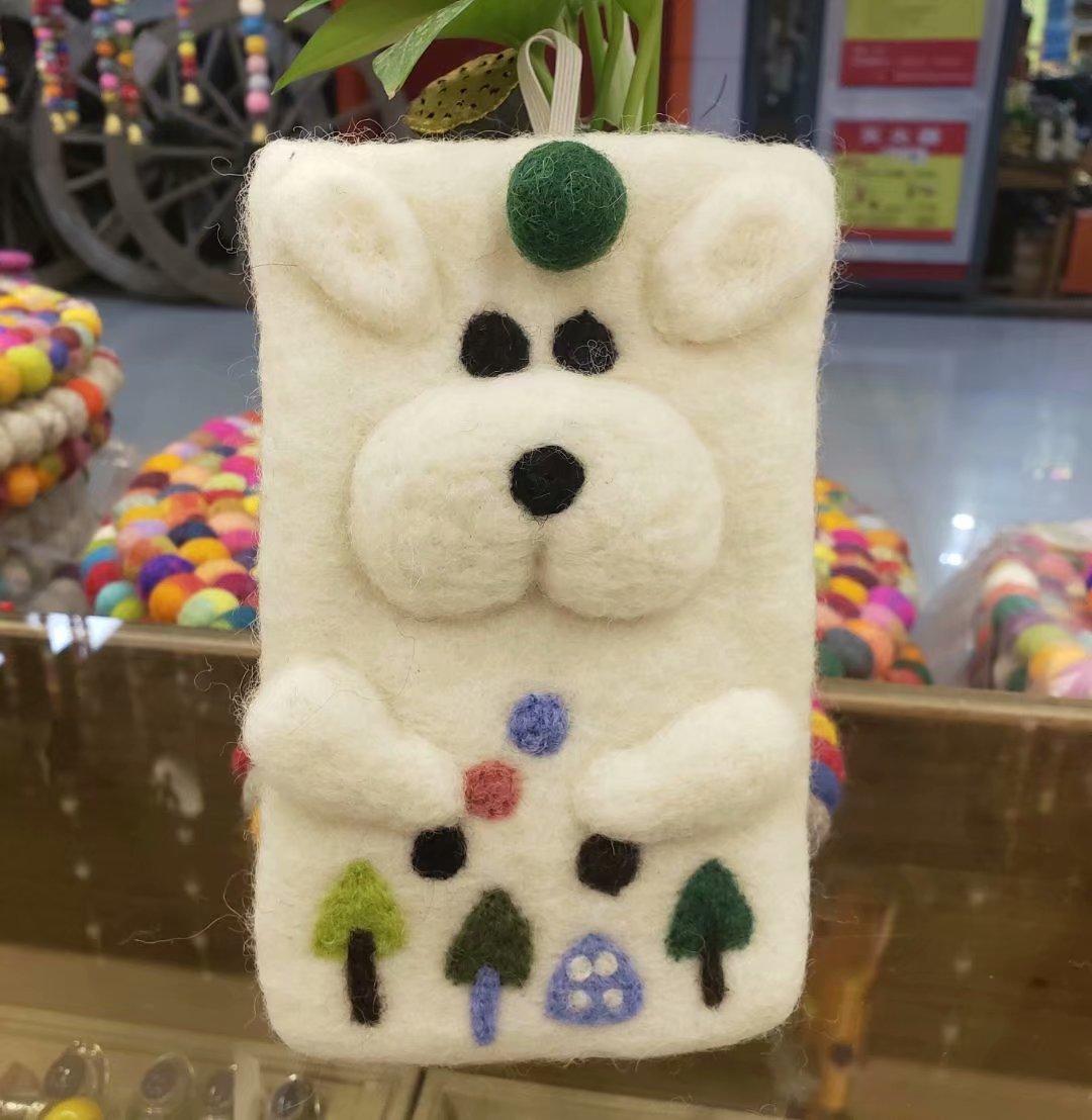Nepal Wool Purse Felt Cell Phone Bag Mobile Phone Bag Cartoon Bear