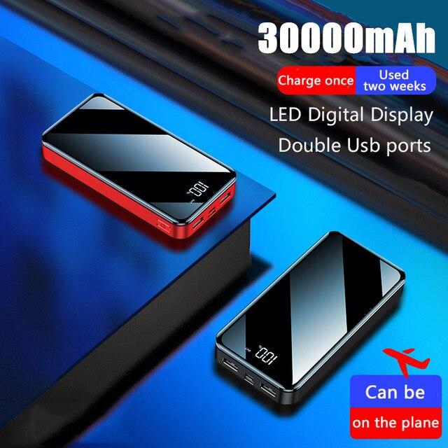 חם כוח בנק 30000mAh Powerbank מטען LED הכפול Usb יציאות חיצוני סוללה Poverbank נייד עבור iPhone 7 8 x שיאו mi mi