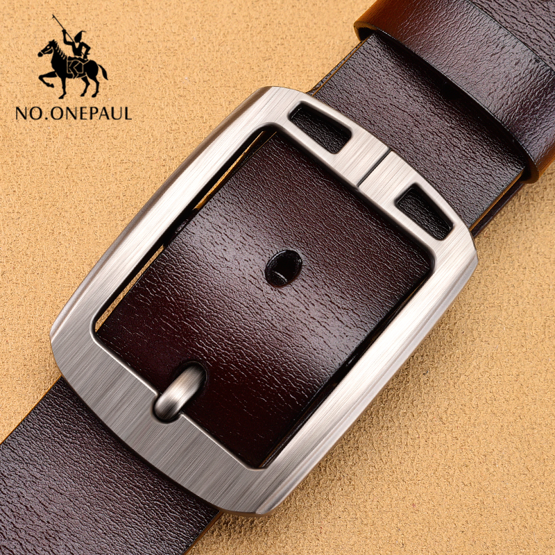 NO.ONEPAUL Men Belts Cowhide Leather For Belts High Quality Luxury  Retro Business Men's Pin Buckle Fashion Designer Belts