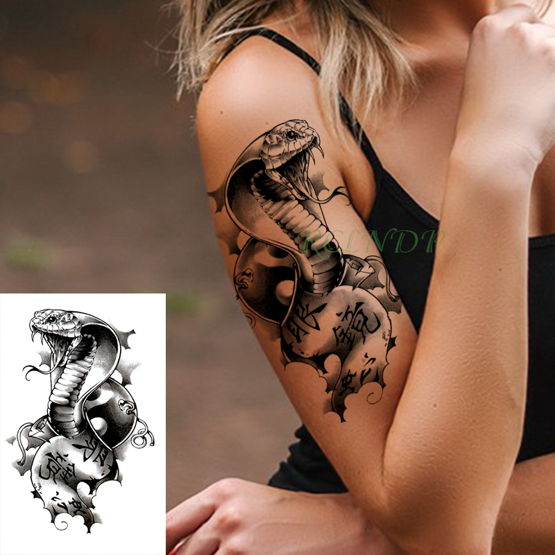 Waterproof Temporary Tattoo Stickers Cobra Snake Animal Fake Tatto Flash Tatoo Body Art Tattoos For Girl Women Men Kid
