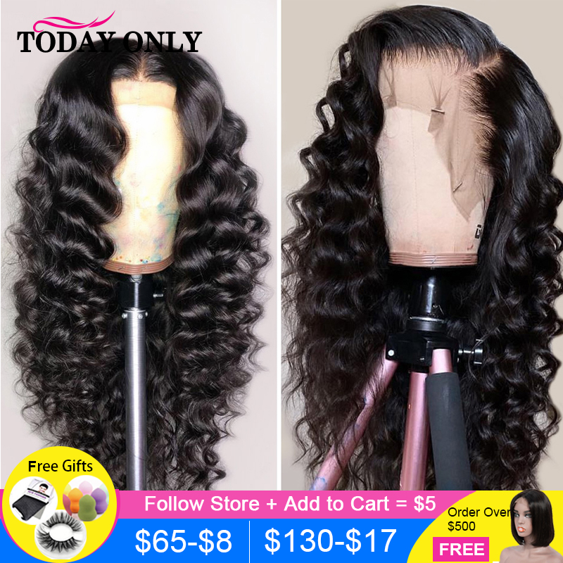 13x6 Lace Front Loose Deep Wave Wig 360 Lace Frontal Wig 180 Density Lace Front Human Hair Wigs Pre Plucked For Black Women Remy