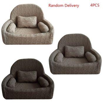 4 sztuk zestaw noworodka fotografia rekwizyty dziecko pozowanie Sofa zestaw poduszek dekoracja krzesła tanie i dobre opinie NoEnName_Null Unisex Skóra CN (pochodzenie) W wieku 0-6m 7-12m 13-24m Stałe 11UC2SS901391-6 Faux wool
