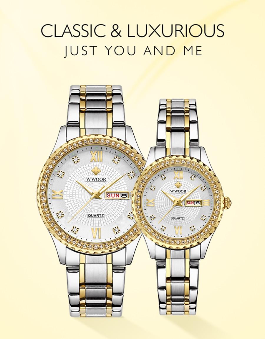 WWOOR 2020 Couple Watch Men and Women Luxury Brand Fashion Diamond Stainless Steel Quartz Pair Lovers Watch Gift relogios casais