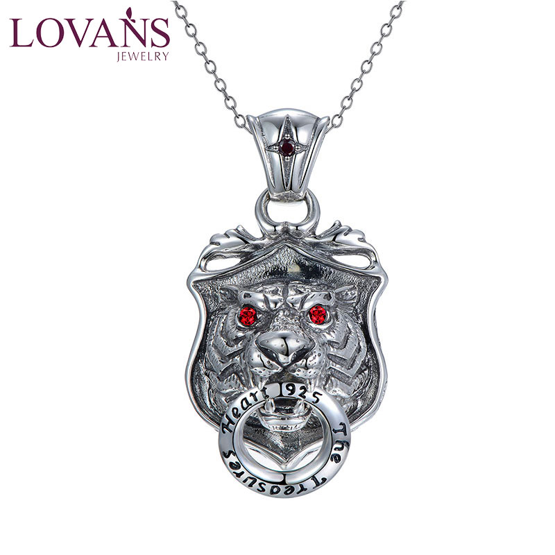 LOVANS Big Lion Head Pendant with Chain Necklace for Cool Men Punk Rock Style for Him