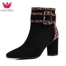 2019 Autumn Double Buckle Woman Boots Winter Shoes Women Block Heel Flock Short Ankle Lady Casual ankle boots