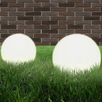 vidaXL LED Bowl Lamps 2pcs Spherical 20cm PMMA 50654
