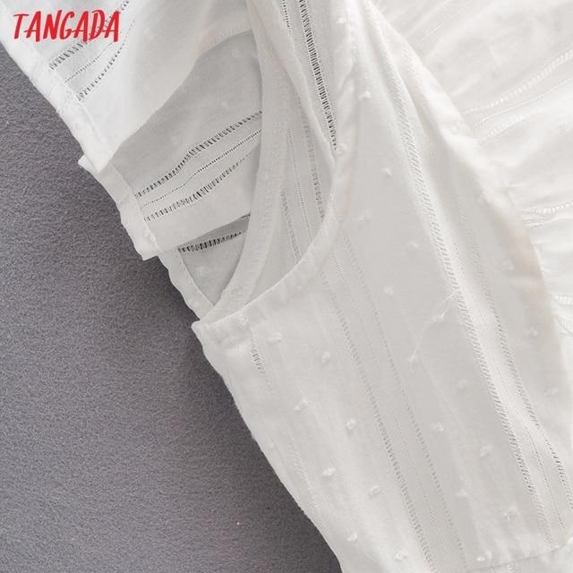 Tangada 2021 Summer Women Dots Hollow French Style Dress Ruffles Ladies Mini Dress Vestidos SY277 3