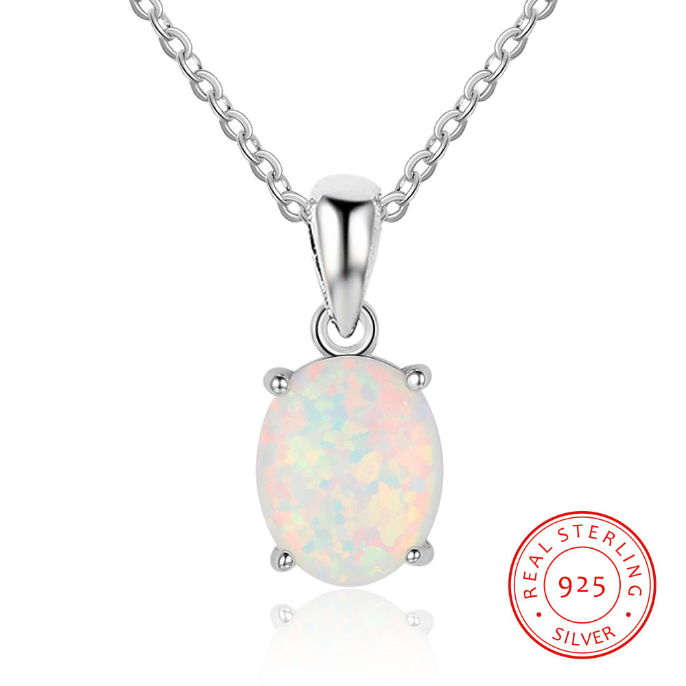 New Products Lovers' Day Valentine's Day Necklace Hot Selling Silver Crystal Opal S925 Fine Silver Necklace