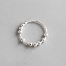 цена на 925 Sterling Silver Simple Geometry Bead Ring Finger Ring Temperament Simple Lady Transfer Bead Ring Finger Ring Jewelry