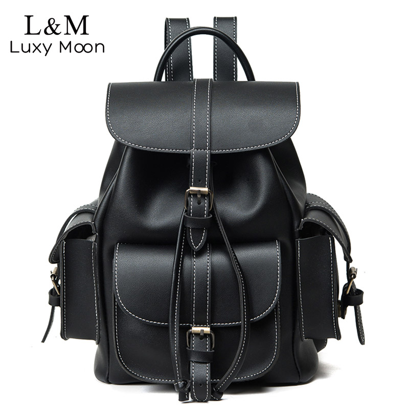 Vintage Drawstring Backpack Women High Quality PU Leather Backpacks Sac A Dos Black 2020 Shoulder Bag Female School Bags XA1179H