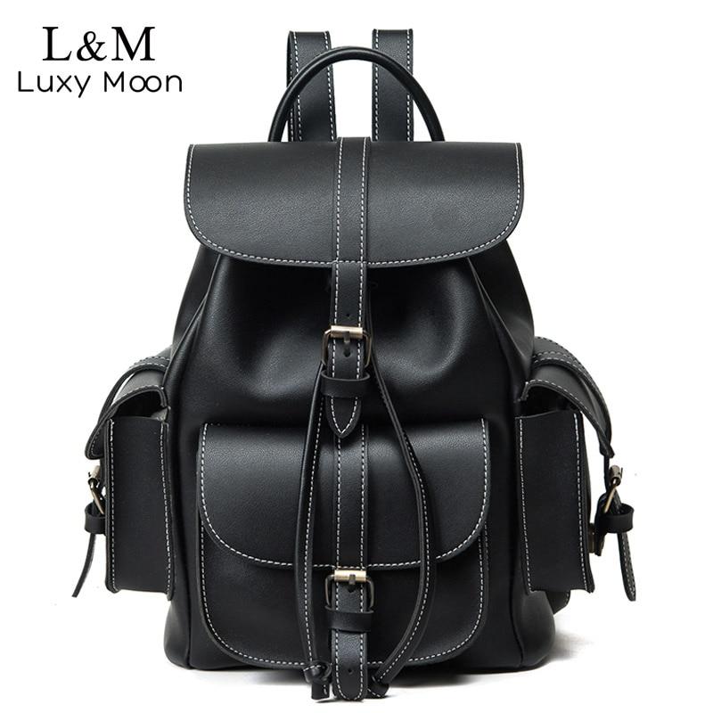 Vintage Drawstring Backpack Women High Quality PU Leather Backpacks Sac A Dos Black 2020 Shoulder Bag Female School Bags XA1179H