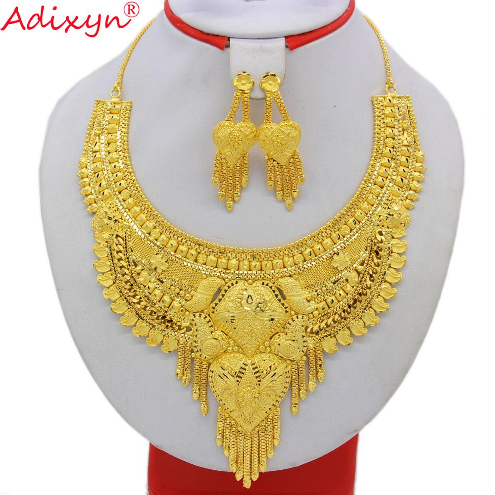 Adixy Ethiopian Necklace&Earrings Jewelry Set for Women Gold Color & Copper African/Arab/Middle East Wedding/Party Gifts N10088