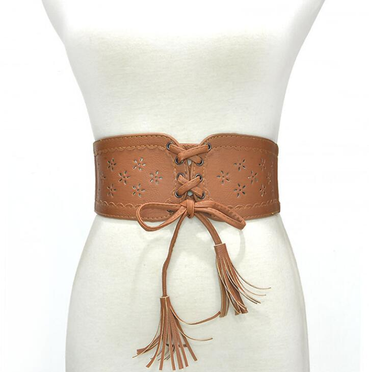 Women's Runway Fashion Pu Leather Elastic Cummerbunds Female Dress Corsets Waistband Belts Bow Decoration Wide Belt R2381