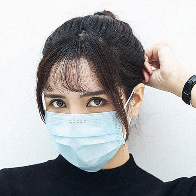 50Pcs/100pcs Mask Disposable Nonwove 3 Layer Ply Filter Mask mouth Face mask filter safe Breathable dustproof Protective masks 9