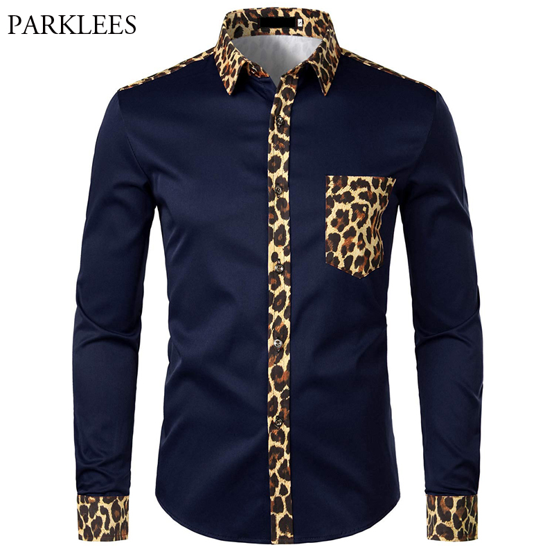 Men Splice Leopard Printed Shirt With Pocket Men Dress Shirt Long Sleeve Men Fashion Brand Mens Button Shirts Camisas Hombre USA