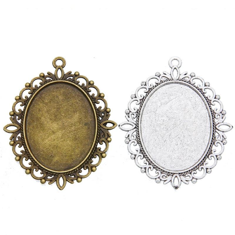 Jewellery Making Antique Bronze 34 x 28mm Oval Frilly Frame Bezel Pendant x1