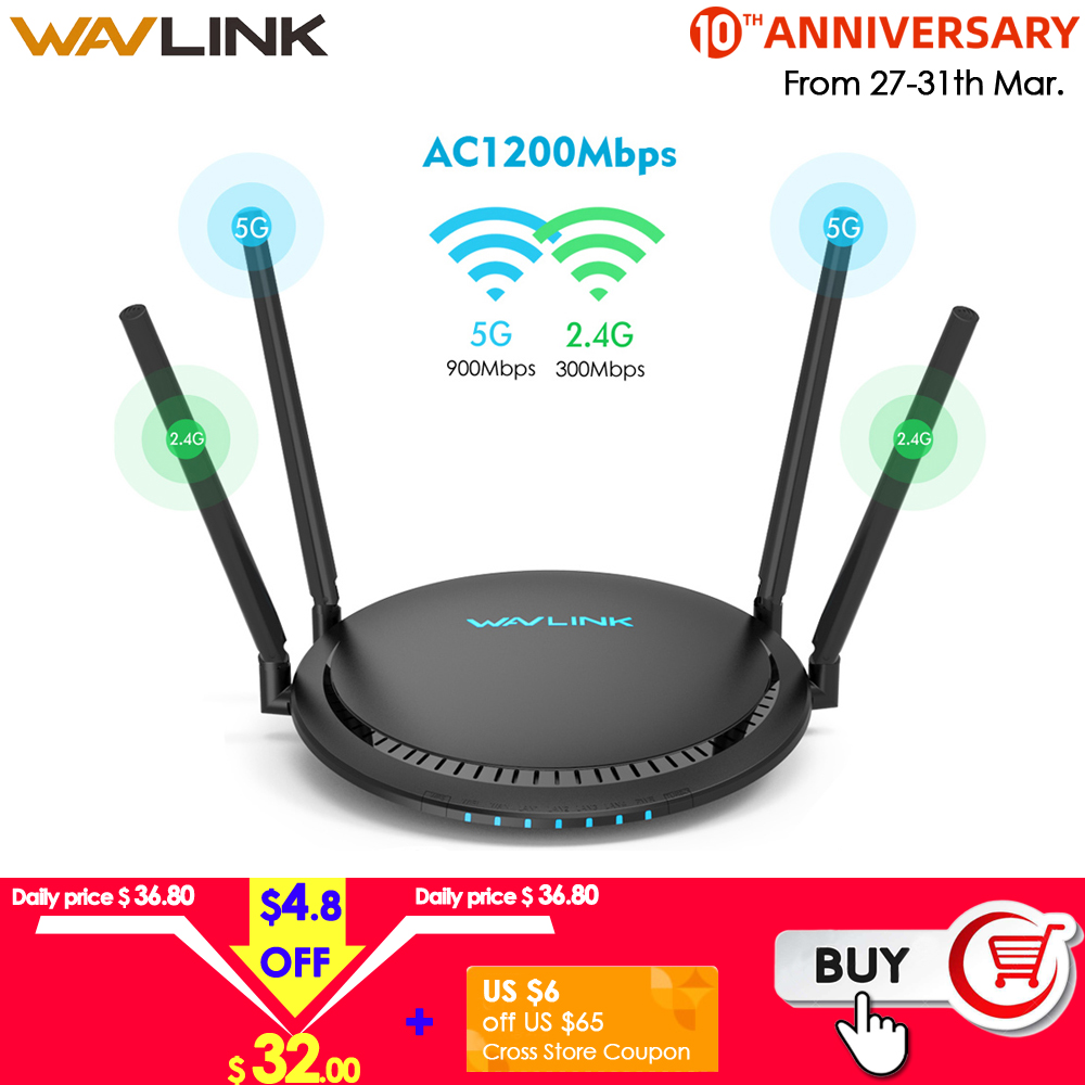 Wavlink AC1200 WiFi Router Gigabit 5Ghz WiFi Extender Booster 2.4Ghz WiFi Repeater 1200Mbps 4x5dBi Touchlink Smart Dual-Band FTP