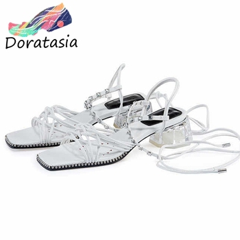 DORATASIA Fashion Women Open Toe Thin Belt Ankle Strap Gladiator Shoes Fashion Casual Sandals Women Gladiator Sandals