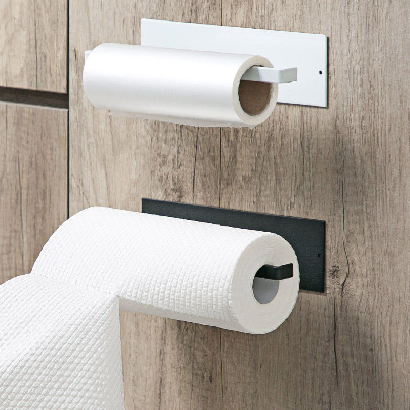Self Adhesive Roll Paper Holder Bathroom Toilet Paper Holder Rack Kitchen Towel Holder Tissue Hanger Rack Hanging Organizer