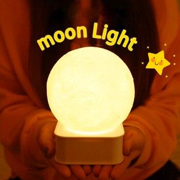 цена 3D Moon Lamp Night Light Print Moonlight LED Touch/Pat Switch Bedside Table Desk Lamp Dropship 7 Colors USB Novelty Lamp Gift онлайн в 2017 году