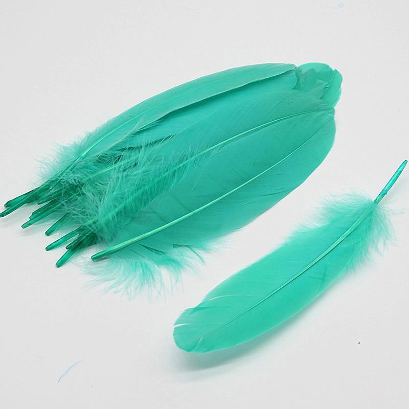 Натуральные лебединые перья 14-20 см, многоцветные гусиные перья, шлейф для рукоделия, свадебных украшений, рукоделия, украшения для дома, 50 шт - Цвет: Light blue green 50p