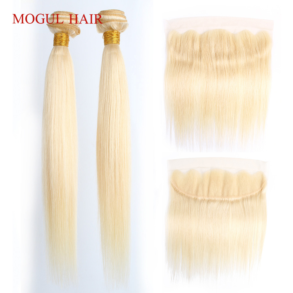 MOGUL HAIR Platinum Blonde 613 Bundles With Frontal 2/3 Bundles With 4*13 Lace Closure Indian Straight Non Remy Human Hair Weave