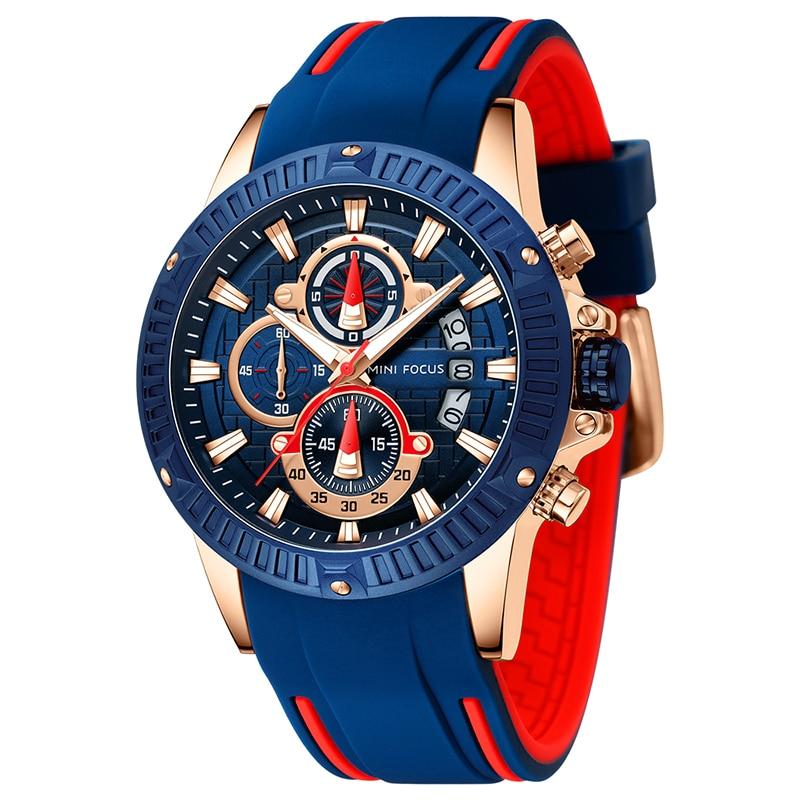Mini Focus Mens Watches Waterproof Chronograph Sport Analog Quartz Watch Auto Date Blue Silicon Men Wristwatch Relogio masculino 1