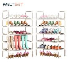 رف أحذية بسيط مع درابزين تركيبة مجانية اختياري الأحذية المعدنية تخزين الرف متعددة الوظائف خزانة خذاء متعددة الطبقات