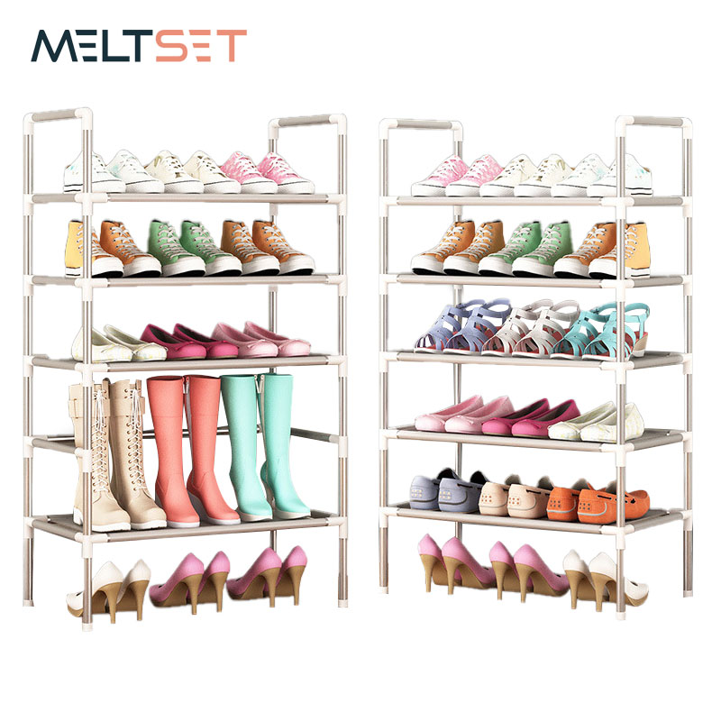 Simple Shoe Rack With Handrail Free Combination Optional Metal Shoes Storage Shelf Multifunctional Multi-layer Shoe Cabinet