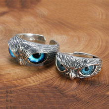 Real 925 Sterling Silver Demon Eye Owl Ring For Women Girl Lovers Retro Animal Open Adjustable Ring Statement Ring Jewelry Gift