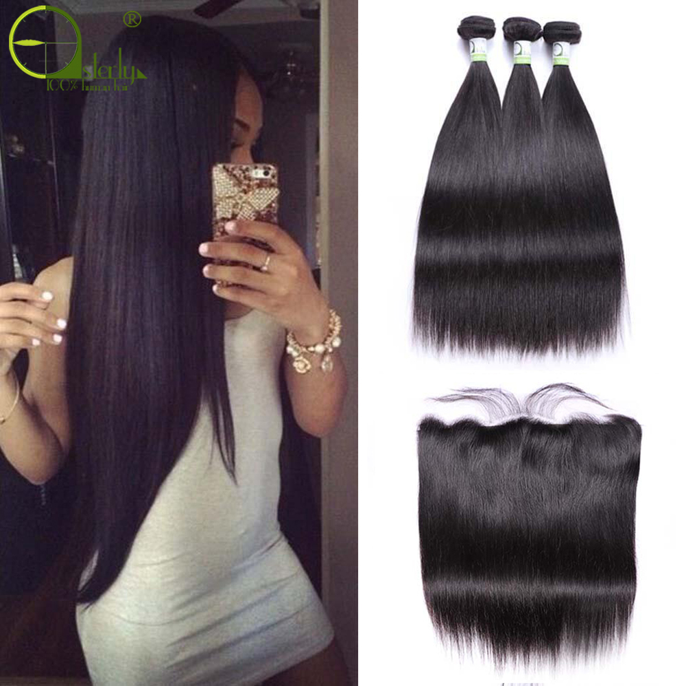 Sterly Hair-Bundles Closure Frontal Brazilian-Hair Straight with Remy title=