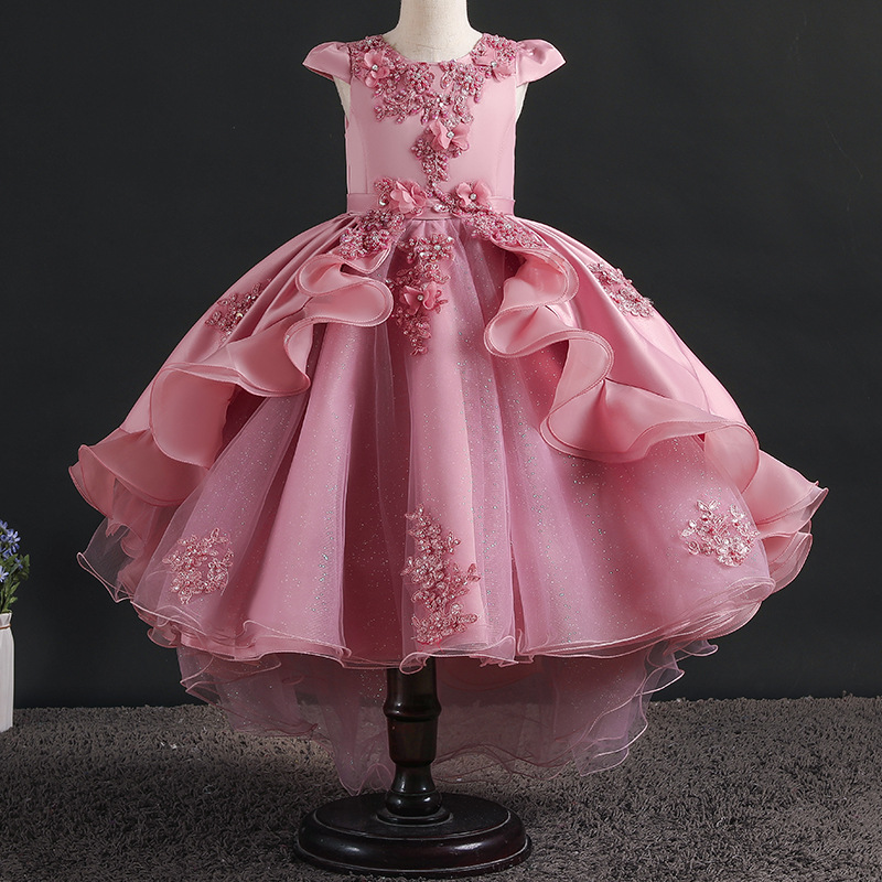 Flower Girls Birthday Party High End Embroidered Tuxedo Girl Christmas Dress Wedding Prom Beaded Swallow Dress Party Long Dress