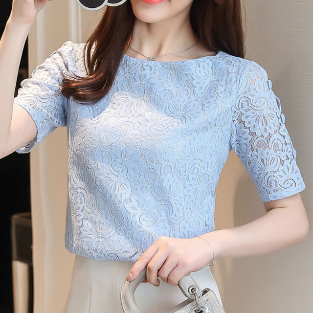 Fashion lace women blouses shirt summer short sleeve women tops hollow Lace blouse women shirt Female Blusas femininas Plus size 6