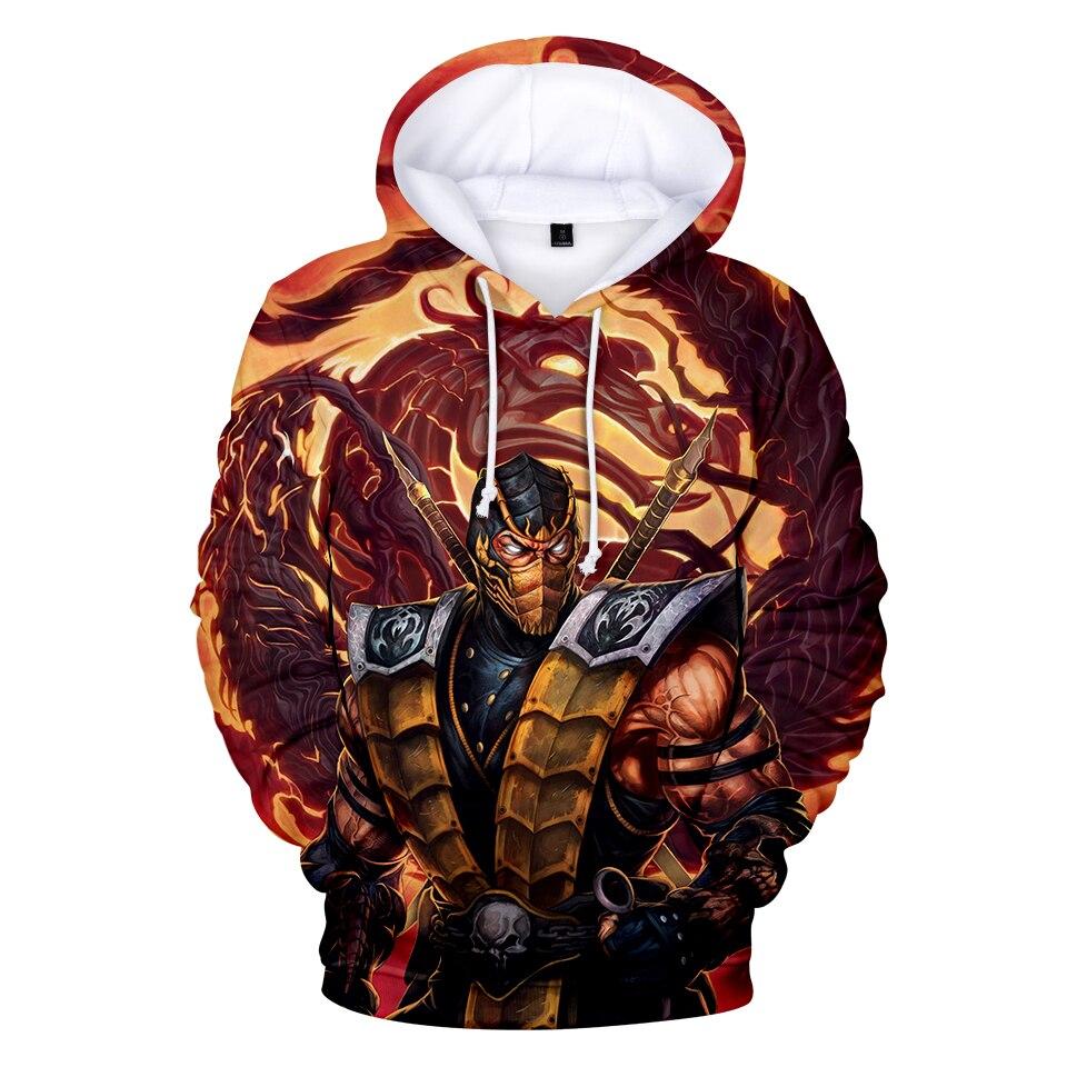 Game Mortal Kombat 11 Hoodies Fashion Print Men Hoodies Streetwear Popular 3D Hoody Harajuku Personality Trend Hooded Sweatshirt