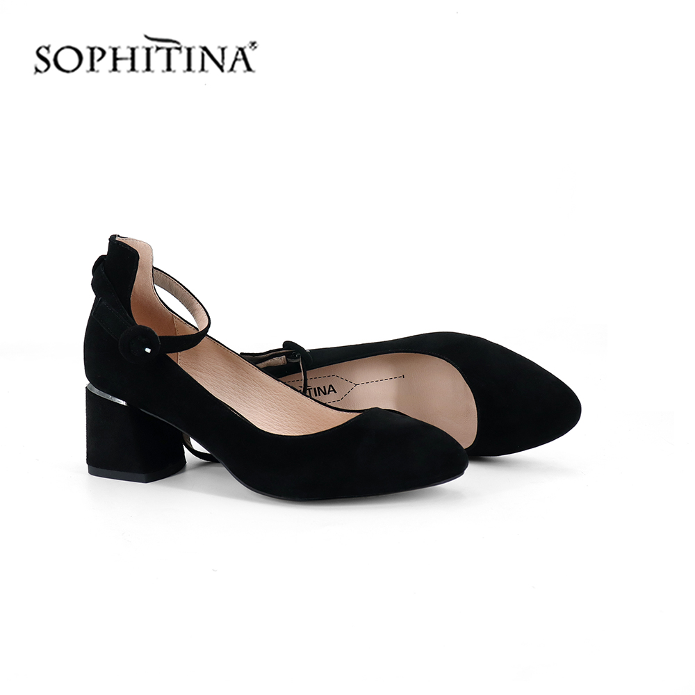 SOPHITINA Comfortable Buckle Pumps High Quality Lady Elegant Kid Suede Round Toe Shoes Square Heel Solid Shoes New Pumps C246