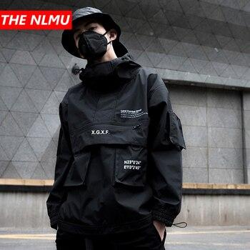 2019 New Black Cargo Jackets Windbreaker Men Streetwear Tactical Jacket Pullover Multi-pocket Male 2019 Autumn Hoody Coat GM659