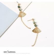 Korean Temperament Golden Fan-shaped Fan Earrings Female Simple Personality Wild Ethnic Retro Fashion