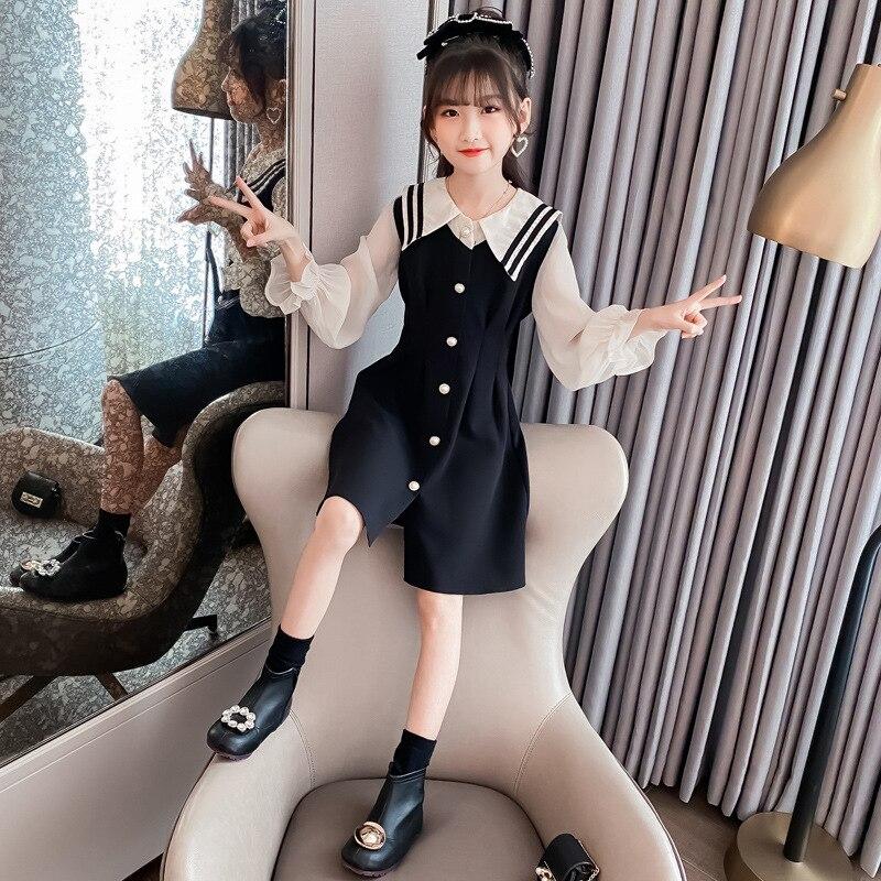 4 6 8 10 12 ans filles vêtements printemps automne nouvelle mode coréenne collège Style robe mignon belle mode robes de princesse