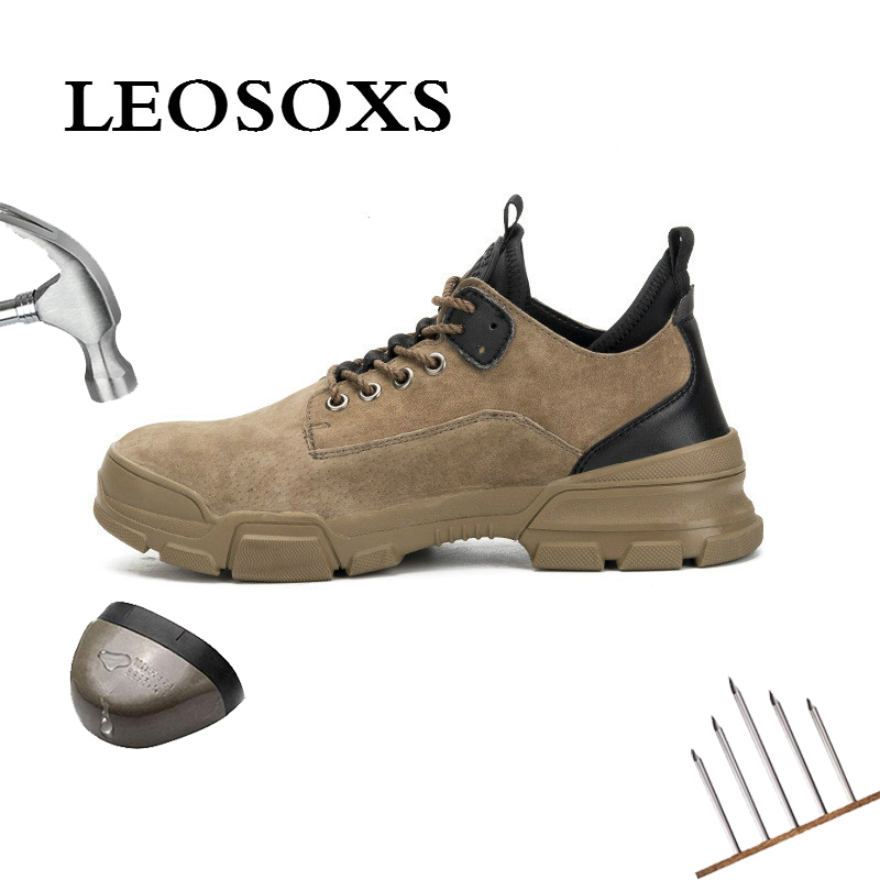 LEOSOXS Boots Sneakers Industrial-Shoes Toe-Work Comfortable Steel Outdoor Men's Casual