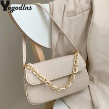 Mode Krokodil Muster Baguette taschen MINI PU Leder Schulter Taschen Für Frauen 2021 Kette Design Luxus Handtasche Weibliche Reise