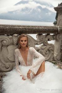 Image 3 - 2020 Sexy col en V profond robes de mariée volants à plusieurs niveaux Tull Tain robe de mariée une ligne à manches longues robes de mariée