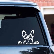 Pegatina de vinilo con diseño de Bulldog Francés para decoración de coche, pegatina reflectante a láser 3D para decoración de coche