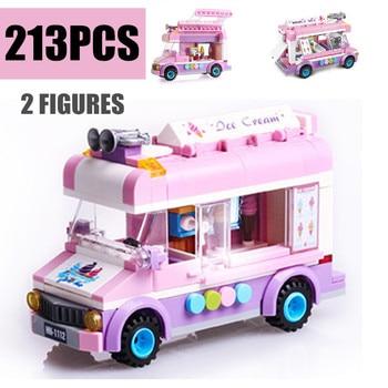 New City Ice Cream Truck Mobile Ice Cart Fit Friends City Building Blocks Kids Bircks Toys Kids Girl Gift Kid Diy Toy Birthday