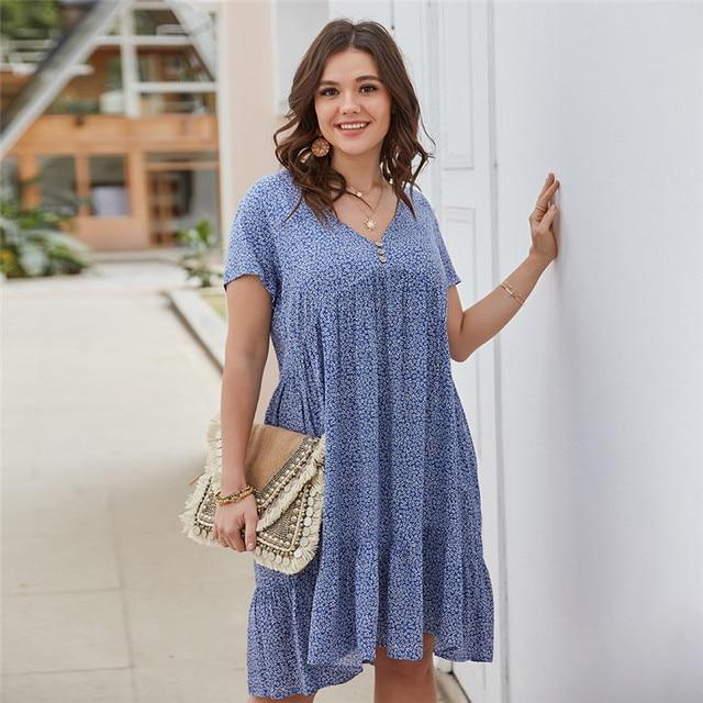 New 2021 Summer Dress Plus Size Women Beach Dresses Fashion Floral Chiffon Dress Short Sleeve V-Neck Loose Daily Dress Female 3