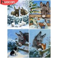 HUACAN 5D DIY Diamond Painting Donkey Rhinestones Needlework Diamond Embroidery Animal Full Drill Home Decoration